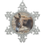 Adorable Donkey Snowflake Pewter Christmas Ornament