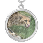 Beautiful Sleek Cheetah Cat Silver Plated Necklace