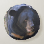 Black Spectacled Bear Round Pillow
