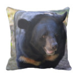 Black Spectacled Bear Throw Pillow