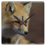 Cute Red Fox Square Wall Clock