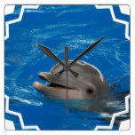 Lovable Dolphin Square Wall Clock