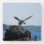 Osprey on Nest Square Wall Clock