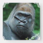 Perplexed Gorilla Square Wall Clock