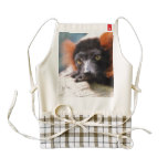Resting Red Ruffed Lemur Zazzle HEART Apron