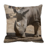 Rutting Rhino Throw Pillow