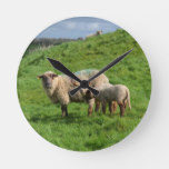 Sheep Family Round Clock