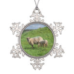 Sheep Family Snowflake Pewter Christmas Ornament