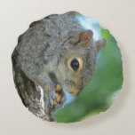 Squirrel Hanging in A Tree Round Pillow