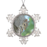 Squirrel Hanging in A Tree Snowflake Pewter Christmas Ornament